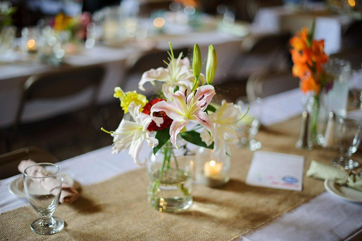 Barn wedding table decorations