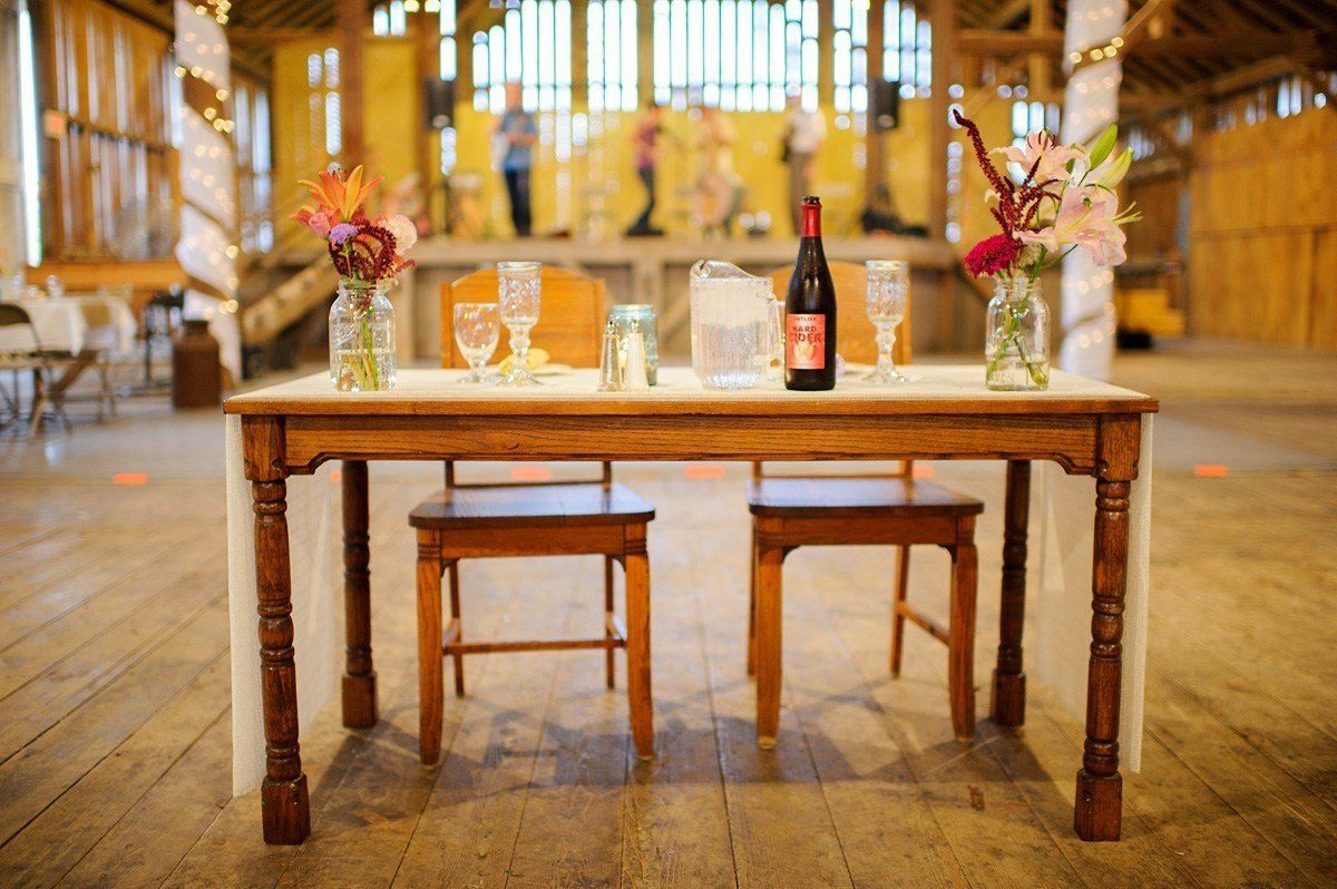 Festhalle Barn wedding bride and grooms' table