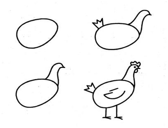 How to draw a pencil chicken (step 1)
