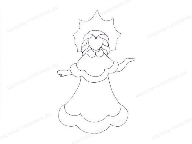 วิธีการวาด Snow Maiden ทีละขั้นตอน