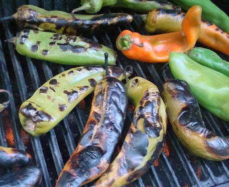 green chiles on the grill
