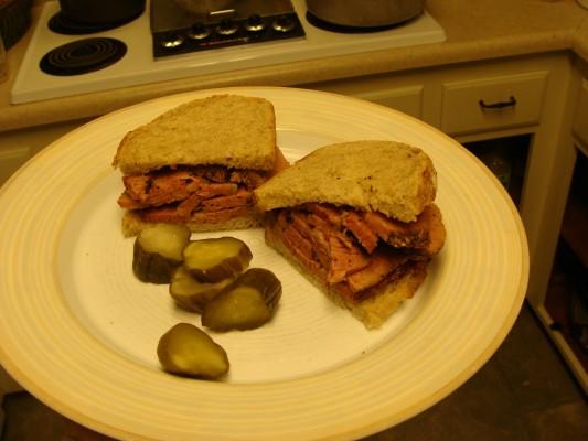 Cheater Pastrami Sandwich