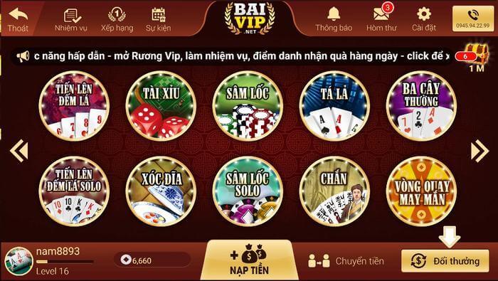 Giao diện không quá nổi trội từ Baivip.net