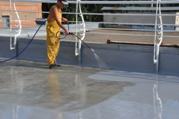 """Transparent waterproofing is a colorless and elastic moisture-resistant coating based on polyurethane. This type of waterproofing is created using high-tech compounds. This allows for reliable coverage, which has significant advantages over such conventional waterproofing materials, like bitumen, рубероид, bituminous mastic and others. Benefits of transparent waterproofing: High resistance to UV radiation, the surface does not crack or deform. Long-term operation with preservation of all original physical and chemical properties. Excellent moisture resistance. Due to its transparency, it looks great on any roof. Provides an incredibly high quality seamless waterproofing coating. The surface """"breathes"""", as the waterproofing layer perfectly transmits water vapor. Incredibly easy to apply - you don't need expensive equipment or any special skills, a brush or roller is enough. Provides excellent heat resistance, as well as resistance to weathering and temperature fluctuations in the range from -40C to + 90C. Amazing coupling with any, even on smooth surfaces. This greatly expands the number of materials, on which transparent polyurethane mastic can be used. Even in case, if the waterproofing polyurethane layer gets any damage, you do not have to spend huge amounts of money and redo the entire coverage. It is enough just to re-treat the damaged area. It only takes a little time. Durability. Such a coating will last 20-25 years, subject to application technology. It should be noted, that transparent mastic can be applied even to old bituminous waterproofing, рубероид, PVC membranes and other materials. This allows you to significantly save time on dismantling the previous waterproofing, as well as thorough cleaning and preparation of the base. Thanks to easy application and high performance, transparent waterproofing is especially indispensable on roofs with complex architectural features. The presence of polyurethane allows to provide really high-quality and long-term pr"""
