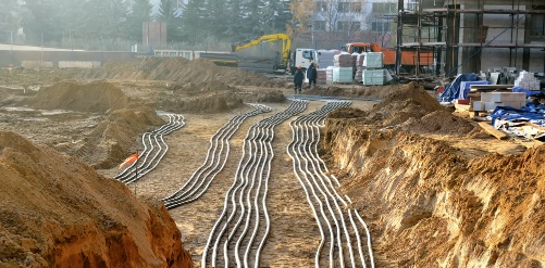 Laying electric lines on a construction site