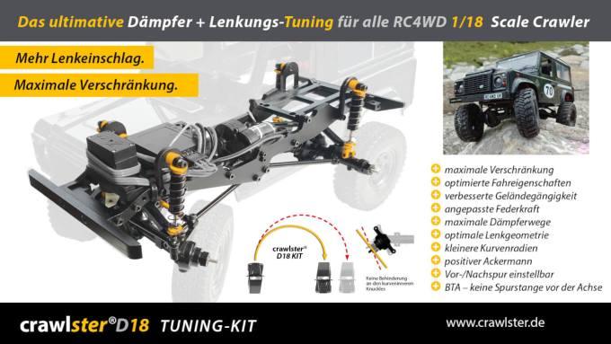 crawlster D18 TUNING-KIT für die RC4WD 1/18 MightyMinis – optimiert Fahrwerk + Lenkung!
