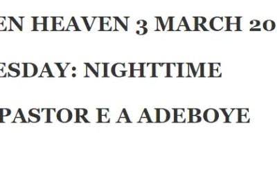 OPEN HEAVEN 3 MARCH 2020