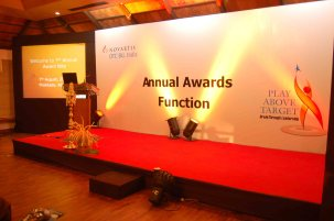 simple stage with Video projection screen for meetings conferences summits event planner agency company kochi kerala india