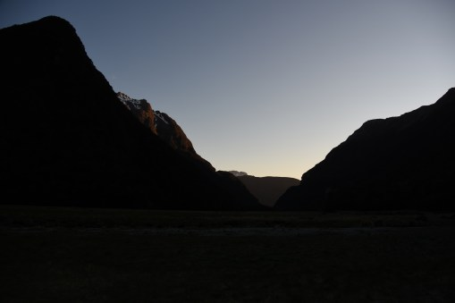 sunrise view from Routeburn Flats Hut