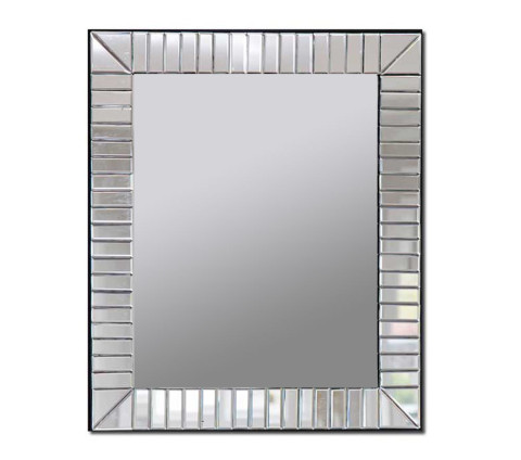 Decorative wall mirror with beveled glass edges and a mirrored glass frame with perpendicular-design strips.