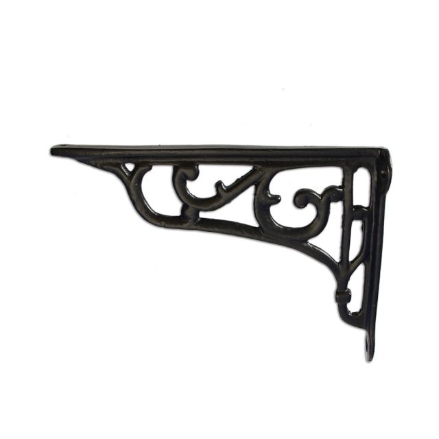 Shelf bracket in black finish.