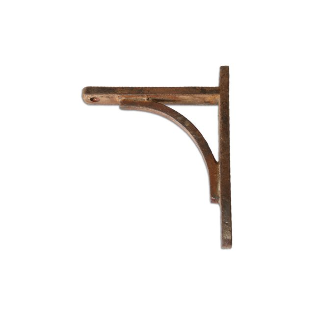Barnyard metal shelving bracket in rustic country finish.