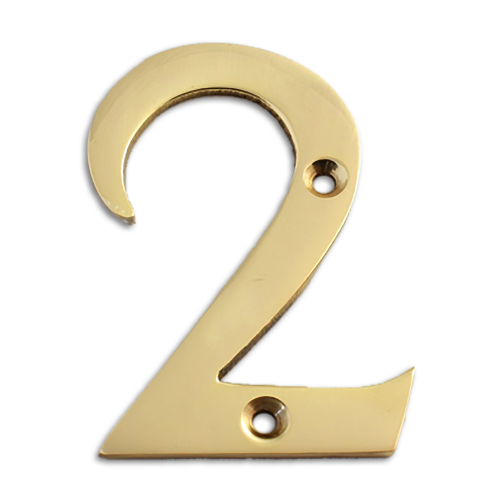 3-inch brass metal house number in polished brass finish - metal number 2