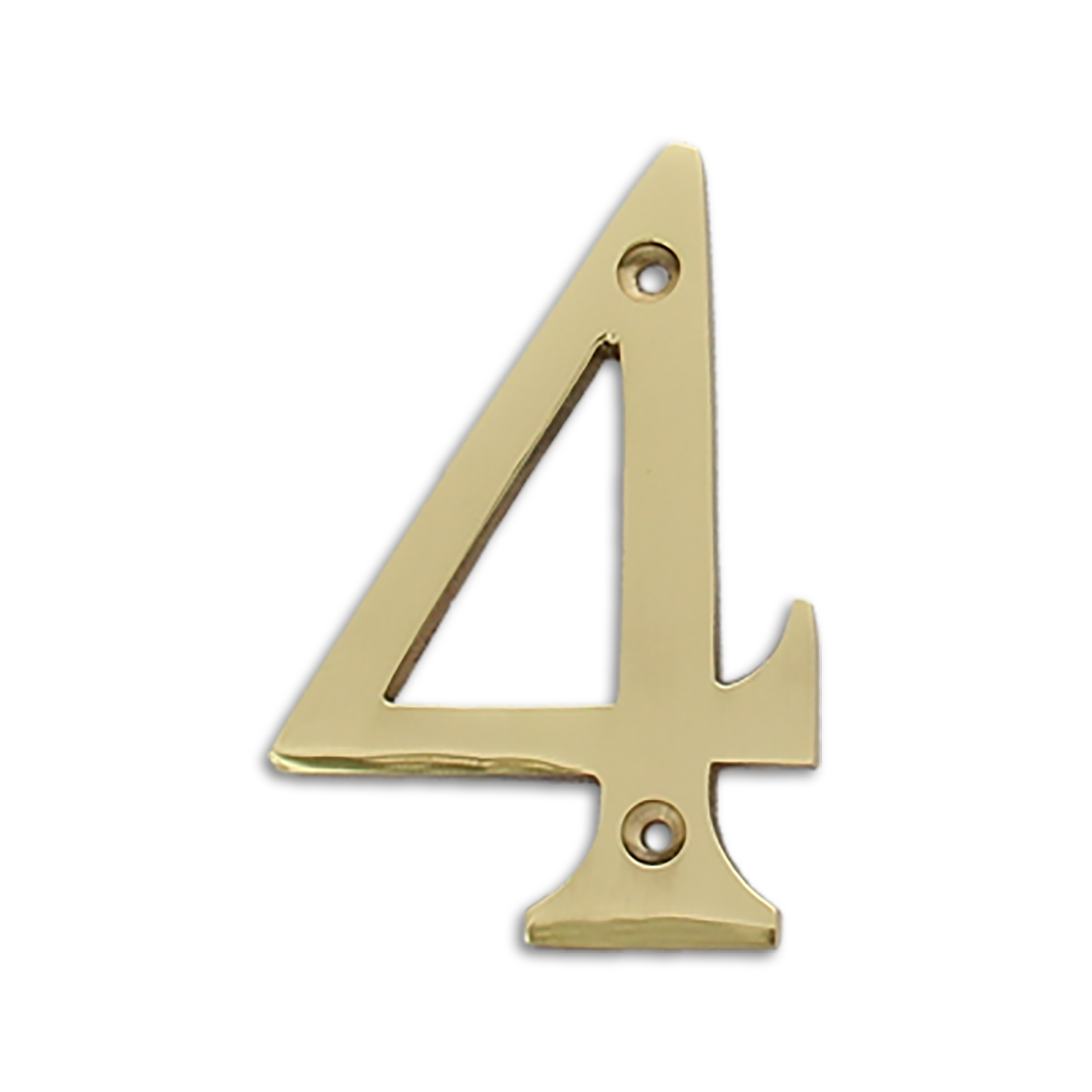 4-inch brass metal house number in polished brass finish - metal number 4