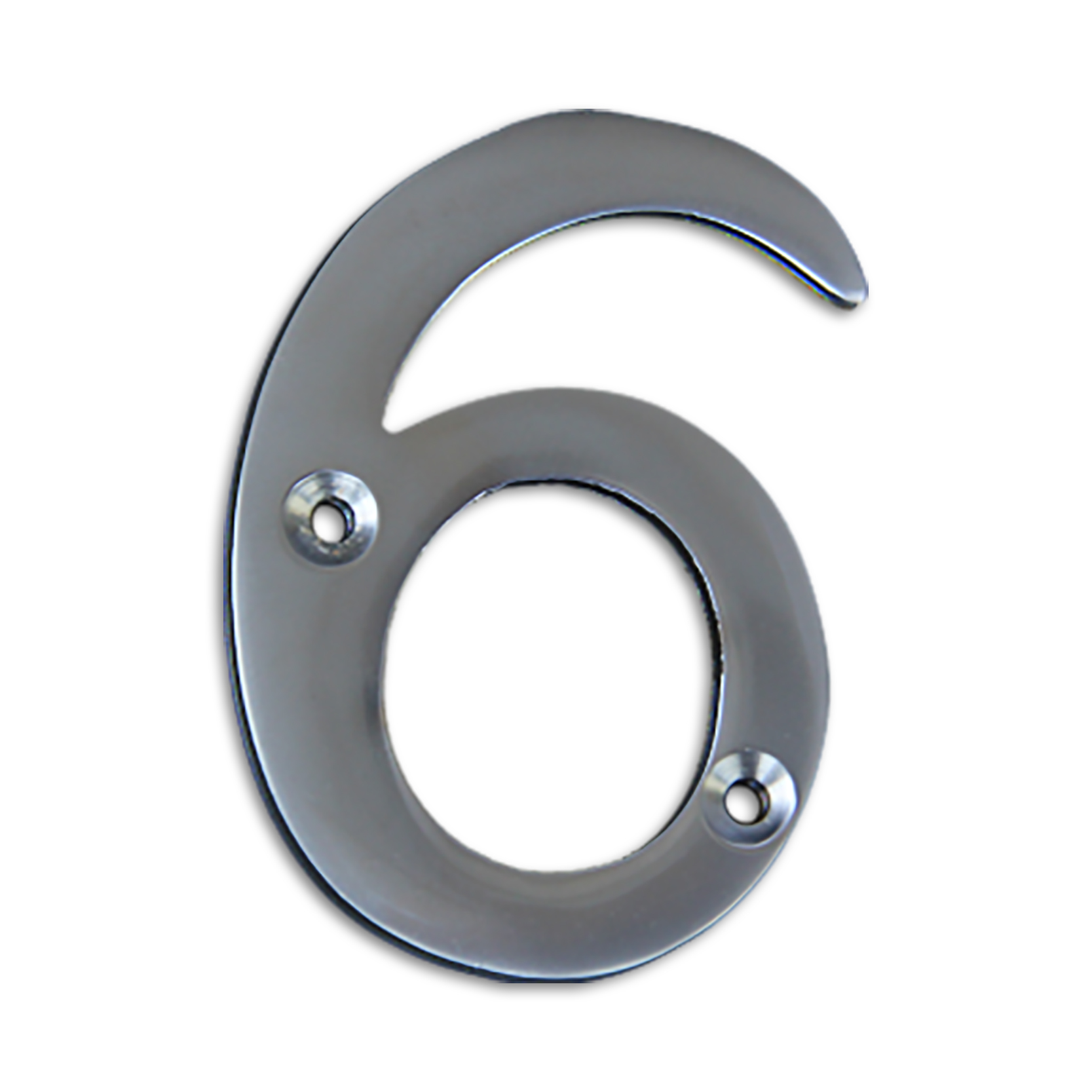 3-inch brass metal house number in satin chrome finish - metal number 6