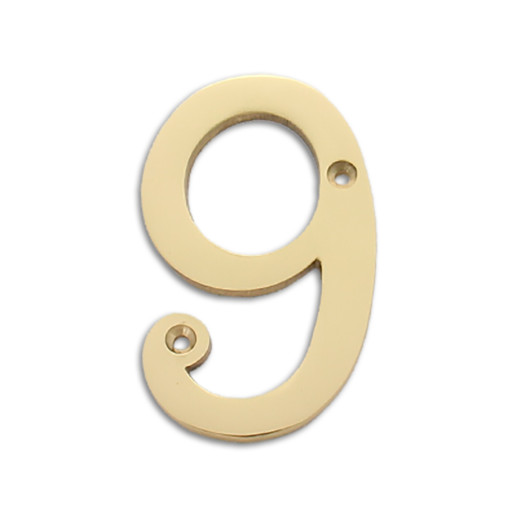 4-inch brass metal house number in polished brass finish - metal number 9
