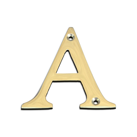 Brass metal letter A in polished brass finish.