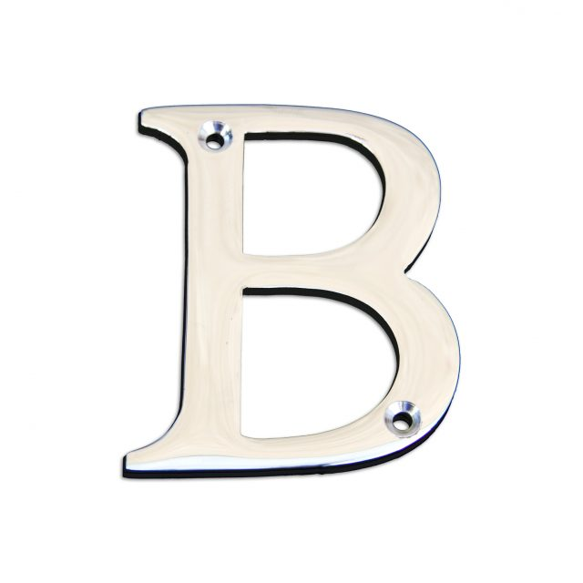 Brass metal letter B in polished chrome finish.
