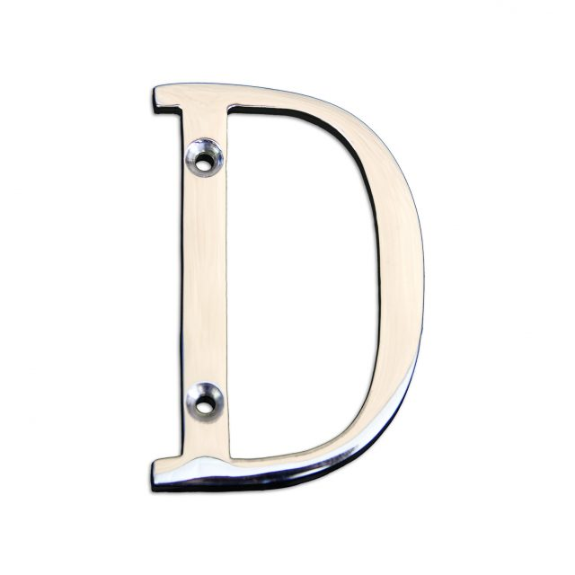 Brass metal letter D in polished chrome finish.