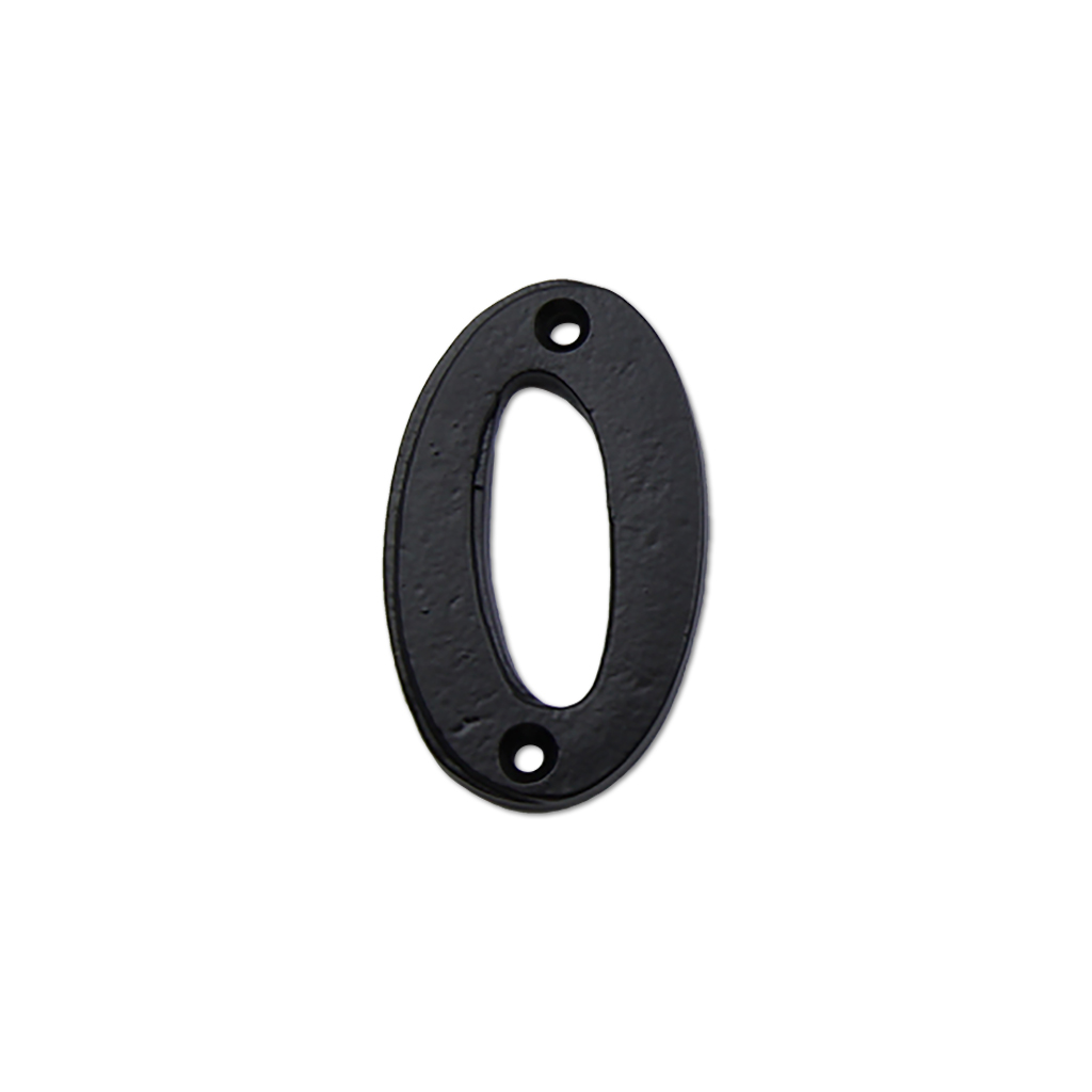 2.75-inch iron metal house number in iron black finish - metal number 0
