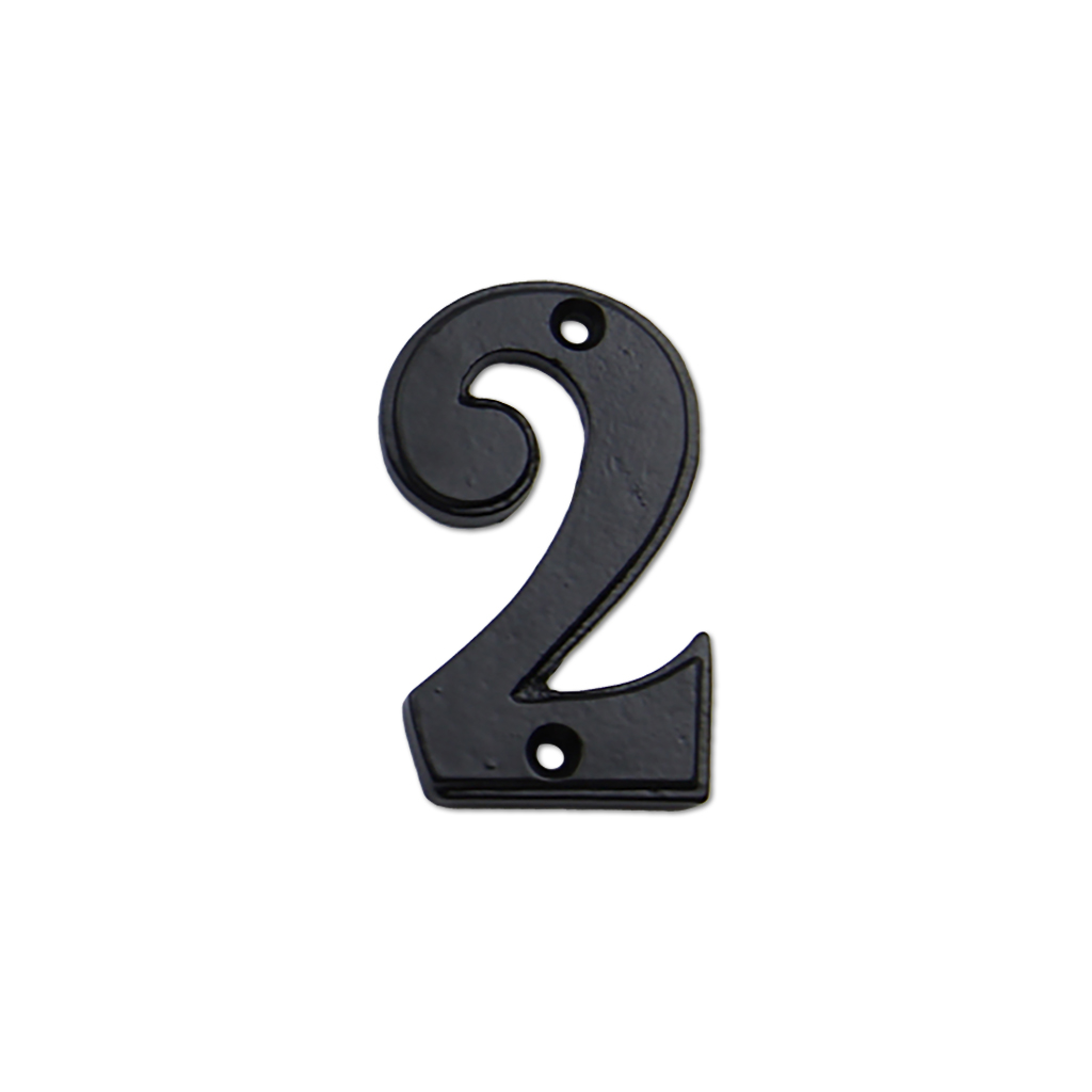 2.75-inch iron metal house number in iron black finish - metal number 2