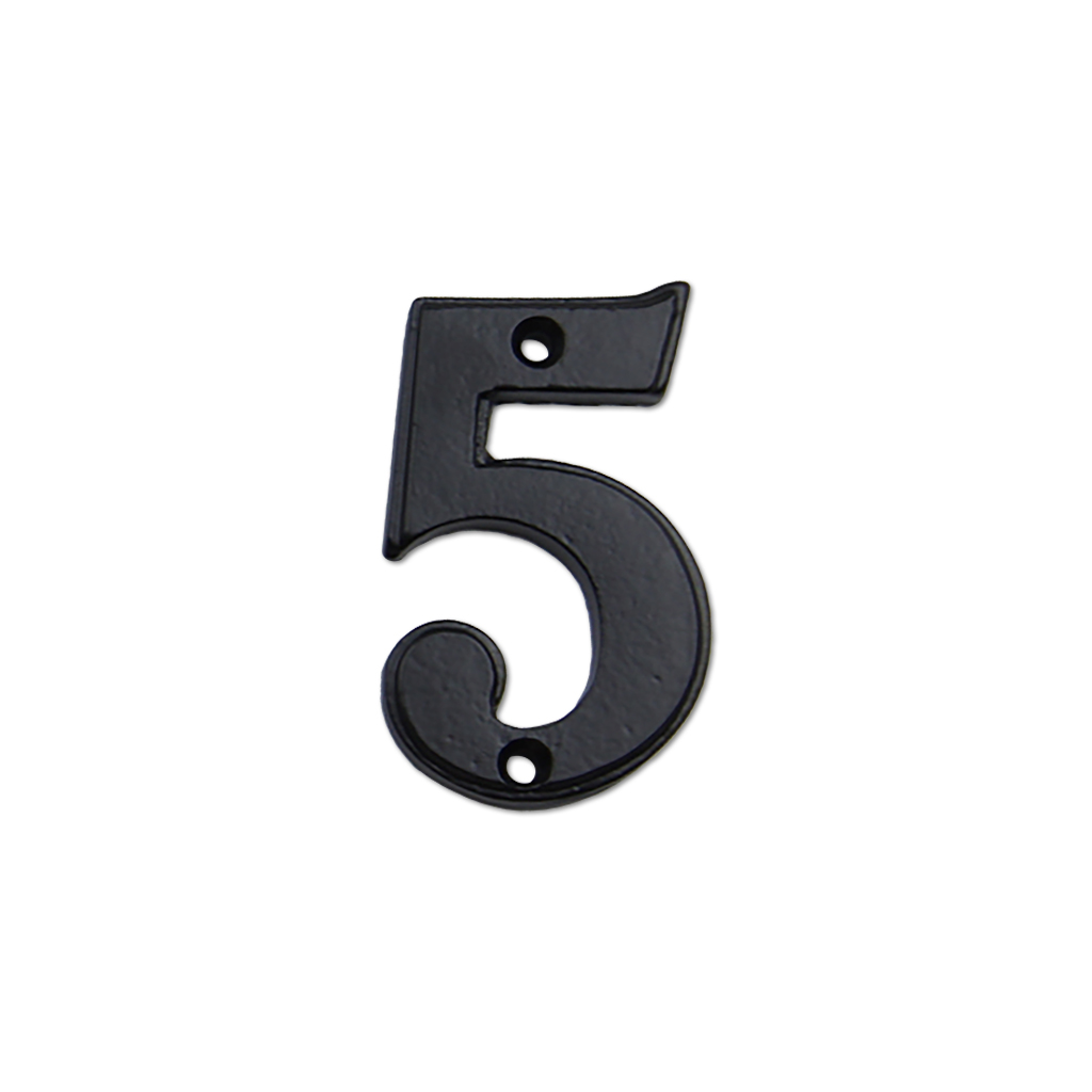 2.75-inch iron metal house number in iron black finish - metal number 5