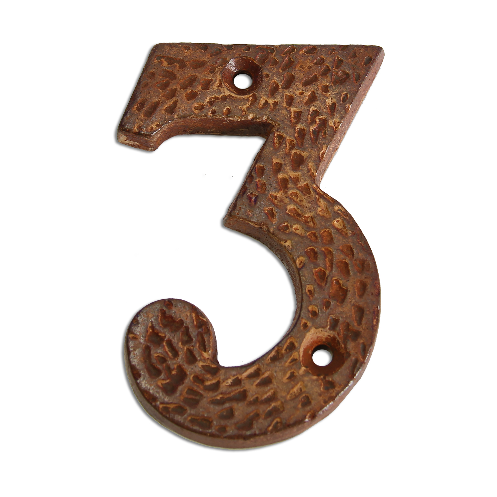 3-inch iron metal house number in rustic country finish - metal number 3