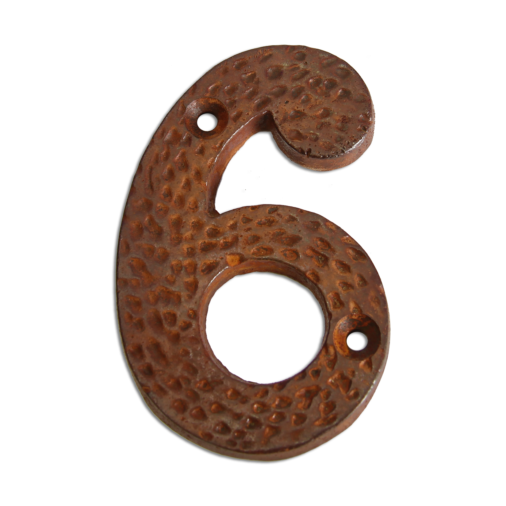 3-inch iron metal house number in rustic country finish - metal number 6