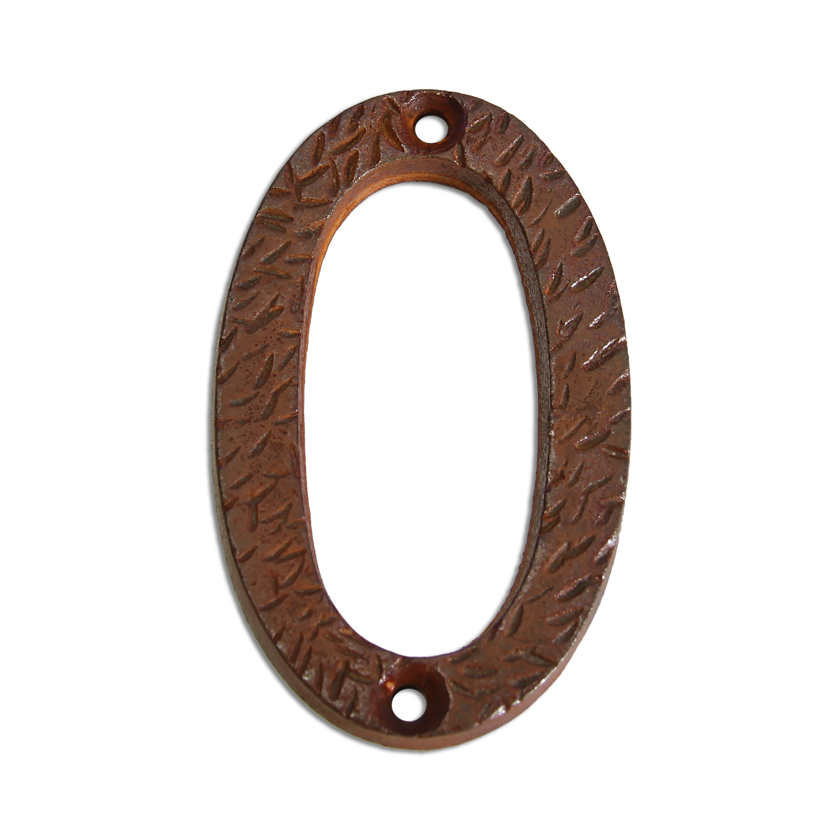 3-inch iron metal house number in rustic country finish - metal number 0
