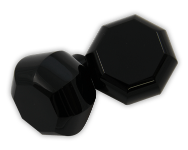 Elegance door knob and cabinet knobs are available in a variety of crystal and natural quartz materials including Black Crystal.