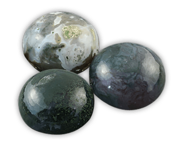 Elegance door knob and cabinet knobs are available in a variety of crystal and natural quartz materials including Green Moss Agate.