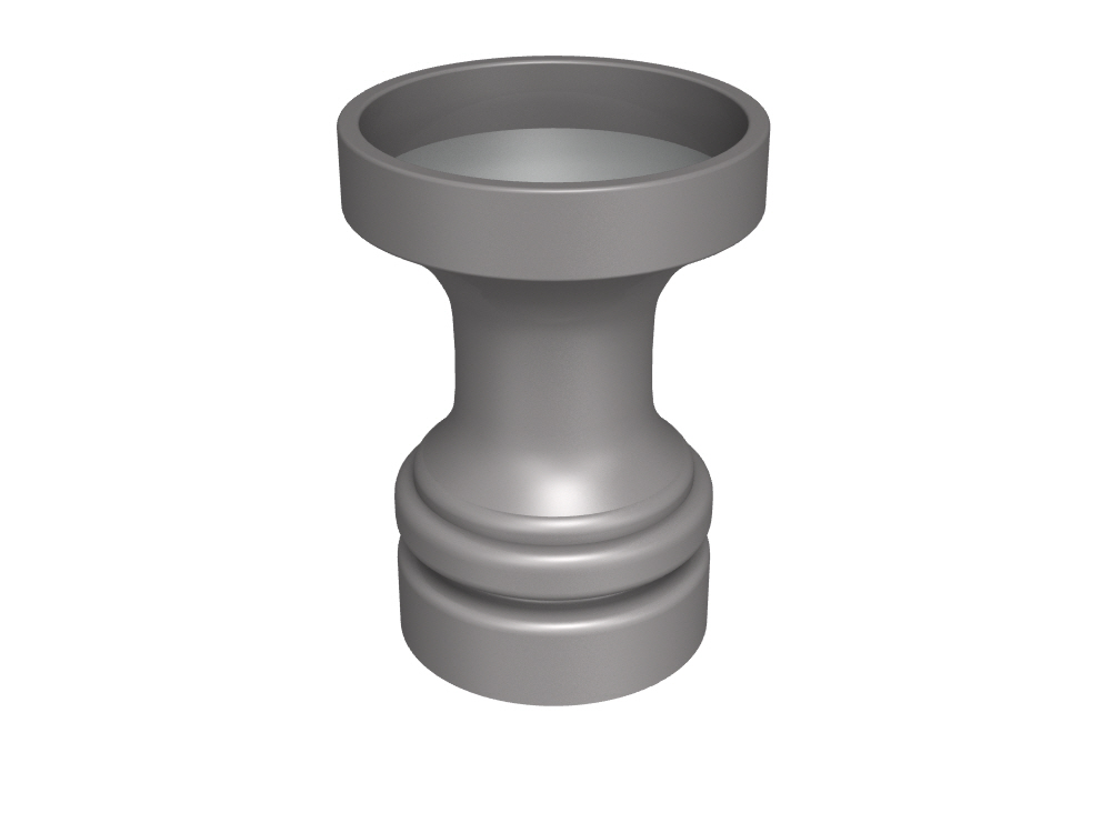 3D rendering of Elegance cabinet knob roses and bases.