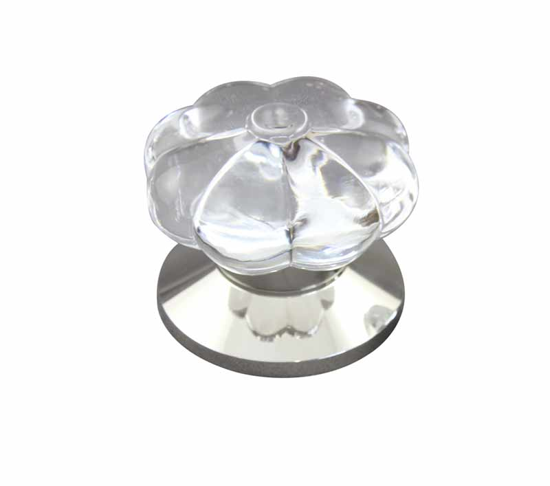 Pumpkin Clear Crystal Door Knob design in polished nickel plain door knob base