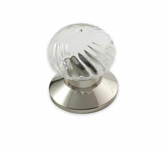 Swirl Clear Crystal Door Knob design in polished nickel plain door knob base