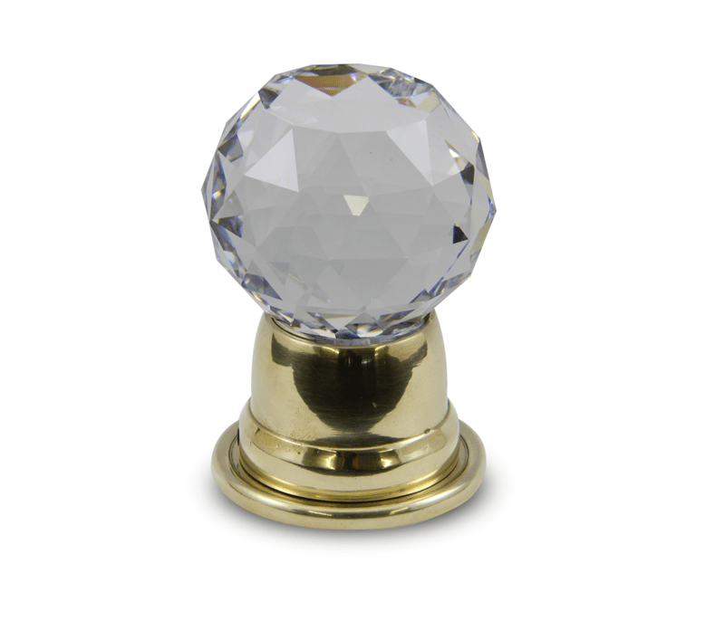 Tulip Diamond Cut Clear Crystal Door Knob design in polished brass bell door knob base