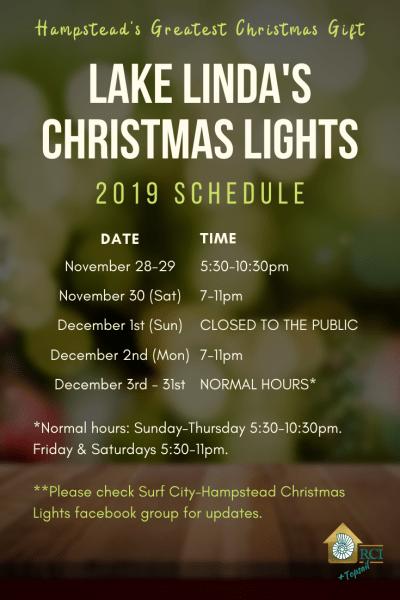 2019 Schedule - Lake Linda's Christmas Lights - RCI Plus Topsail