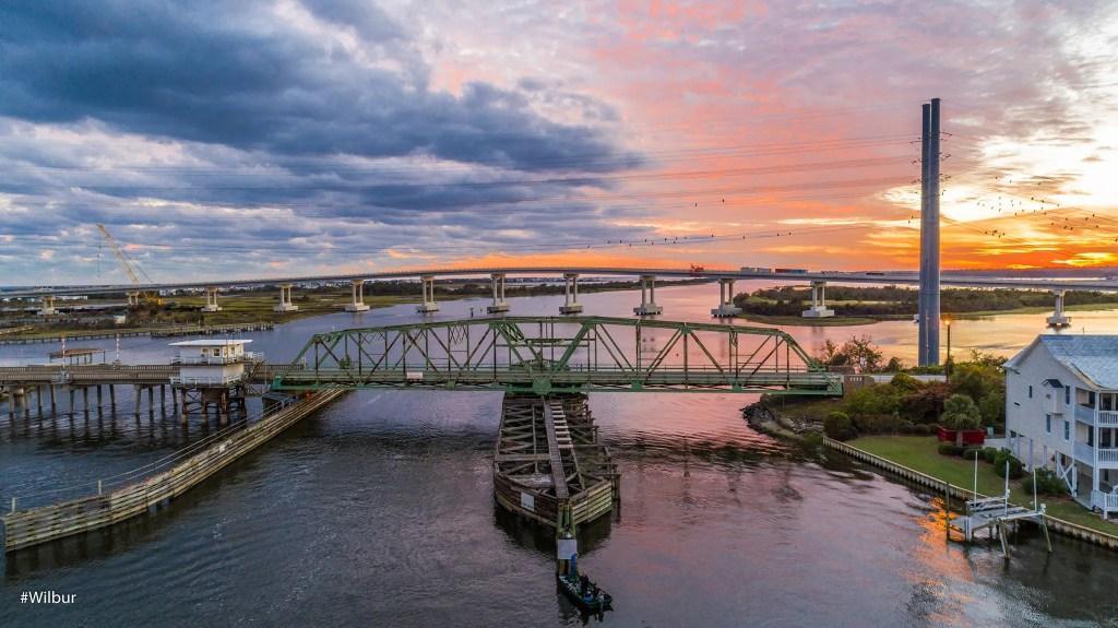 Surf City Swing Bridge & High Rise Bridge at sunset taken by Russell Williams (Surf City, NC) - RCI Plus Topsail