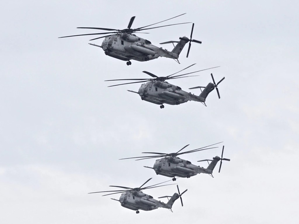 Helicopters flying in formation over Batts Park, captured by Paolo Santos, November 2019