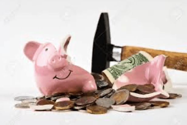 Collecting money from a piggy bank