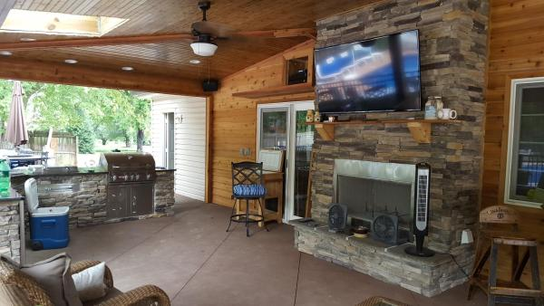 outdoor covered patio with fireplace and kitchen Joe M. Staub Building Group - Covered Patio with Outdoor