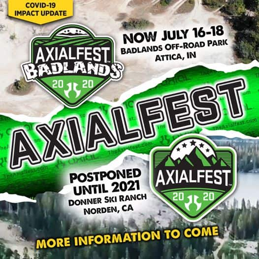"Axial Announces ""AxialFest Badlands"" and ""AxialFest 2020"" Schedule Changes/Postponements"