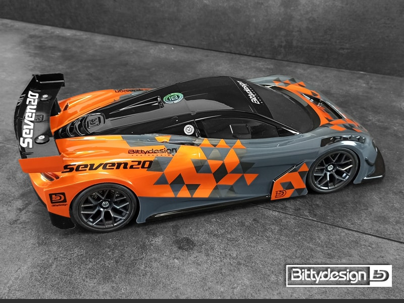 Bittydesign Sevn20 On-road RC Car Body - Top Rear