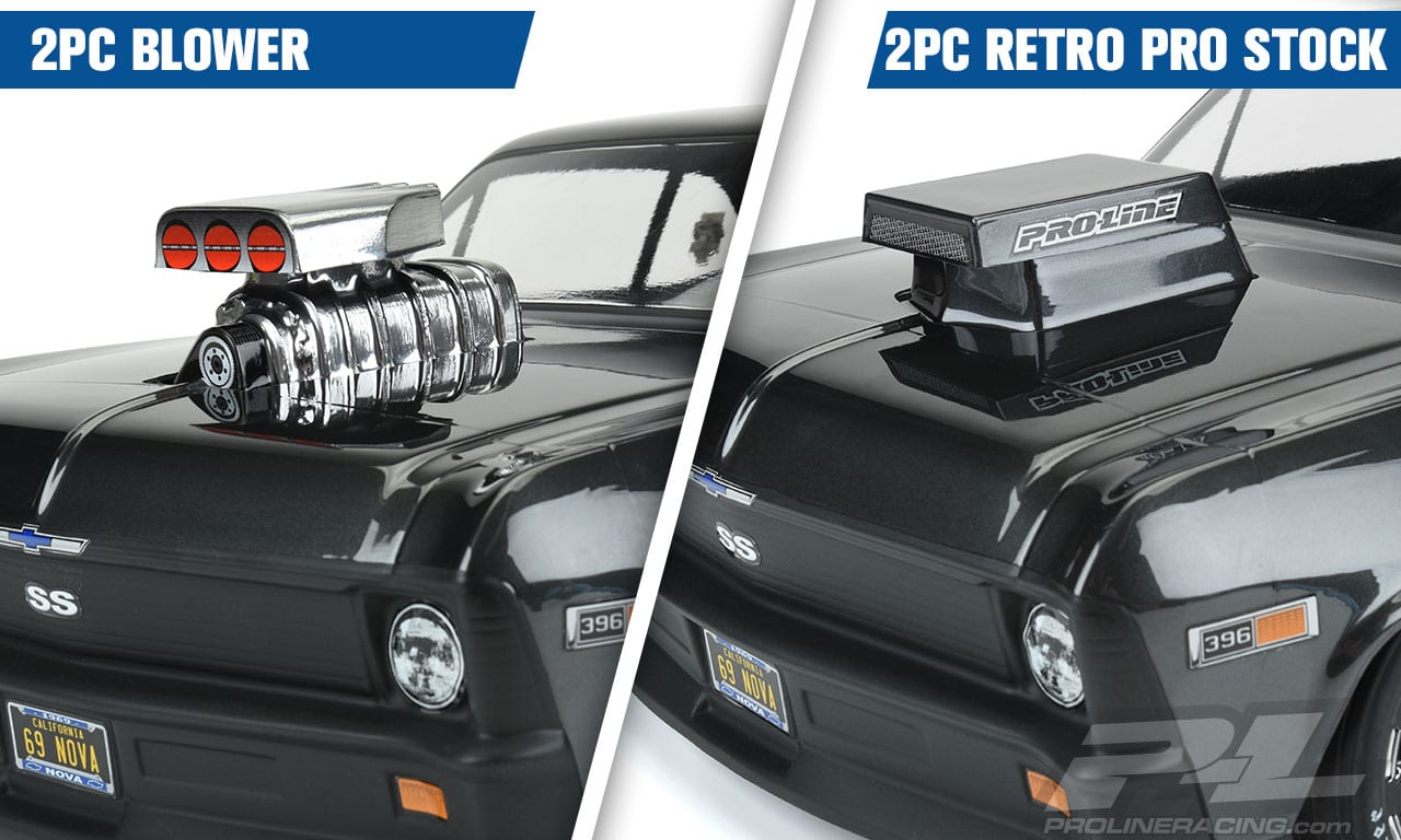 Pro-Line No Prep Drag Racing Hood Scoops and Blowers - Installed