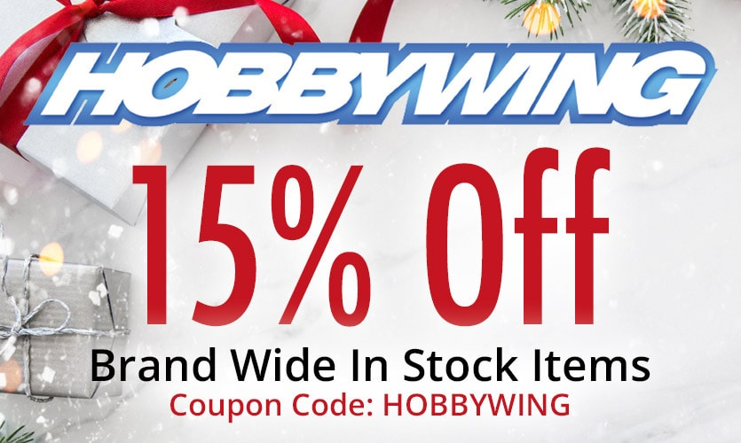 Save 15% on Hobbywing Motors and ESCs Through November 30 at Tower Hobbies