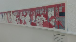 Student artwork on display in the stairwell