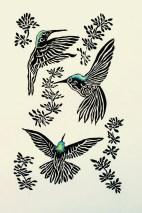 JBare-2.-Hummingbird-Fiesta-Linocut-print-7-x-10-one-half-inches-Framed-11-x-16-inches-150-