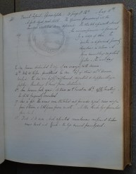 A page from Barnes' Case Book (archive reference S60/C). This page contains an account of an infant from the Daniel's family who suffered from Spina bifida and died shortly after birth.