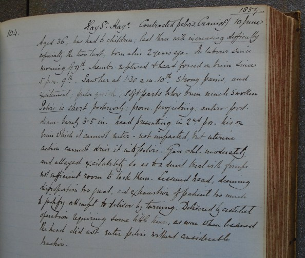 A page from Barnes' Case Book (archive reference S60/C) containing the case of a woman with a contracted pelvis.