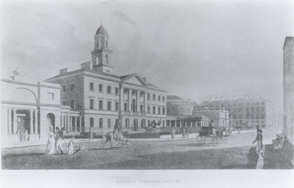 Black and white photograph of an engraving of the Lying-in Hospital in Dublin by Henry Brocas, circa 1818-1829.