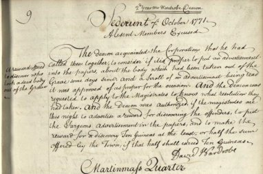 """Reward offered to discover who took a dead body out of the Grave"". RCSEd minutes, Oct 1771 (RCSEd 2/1/6)"